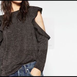 Zara cold shoulder ruffle sweater